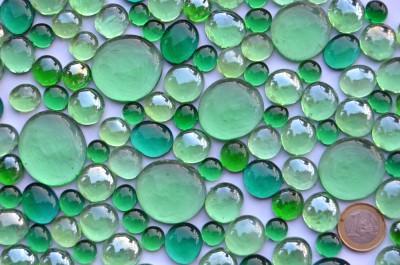 Glasnuggets Grünmix, 4 versch. Größen 10-33mm 430g ca.126St.