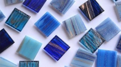 Mosaiksteine mit Flimmer (Goldline) Blaumix 2x2cm 50 St.-ca.145g