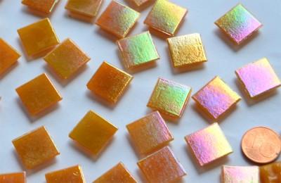 Glas Mosaiksteine schimmernd orange 1,5cm 100 St.- ca. 145g
