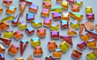 Glas Mosaiksteine unregelm. irisierend Sonnenmix 100g, ca.50St.
