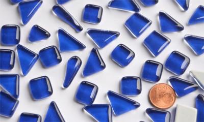 Glas Mosaiksteine unregelmäßig dunkelblau 200g, ca. 130-150St.