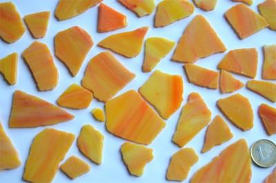 Tiffany Glas orange marmoriert, 200g Glasstücke ca. 20-30St.
