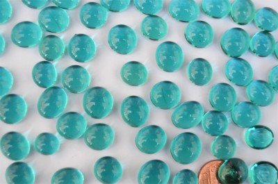 Mini Glasnuggets 10-12mm türkis transparent 70g, ca. 50 St.