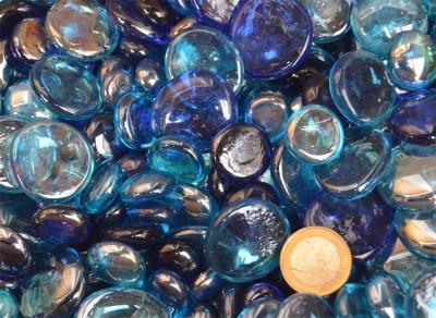 1 Kg Glasnuggets Blaumix in 3 Größen 13-33mm B-Ware!! ca. 200 Stück