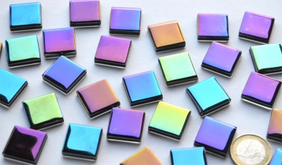 Mosaiksteine schimmernd in Spektralfarben 20x20mm 100g, ca.25 St