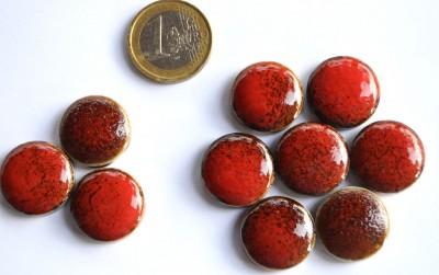 Mosaiksteine rund Tupfenmuster Leopard rot ca. 20mm, 10 St.- 30g