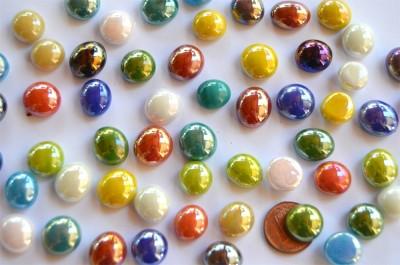 Mini Glasnuggets 10-12mm bunt opak irisierend 70g, ca. 50 St.