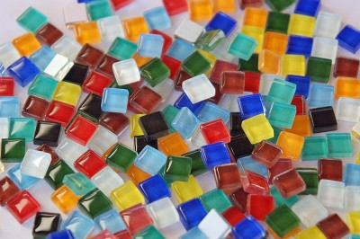 Mosaiksteine Crystal (Soft-Glas) Buntmix 1x1 cm 220 St.- ca.180g
