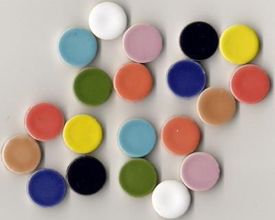 Keramik Mosaiksteine rund glanzend 17-18 mm bunt 10 St.- 20g