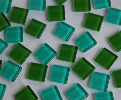 Mini Mosaik (Soft Glas) Grünmix 1x1 cm 220 St.- ca. 180g.