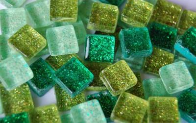 Mini Mosaiksteine grünmix mit Glitzer 1x1cm 100 St.- ca. 85g