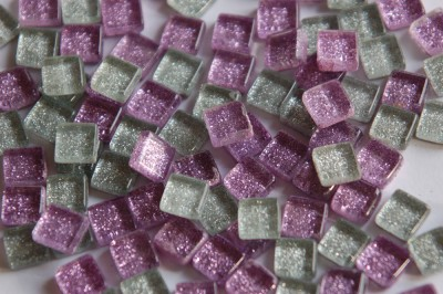Mini Mosaikfliesen Glitter Mix lila-silbergrau1x1cm 100 St-ca85g