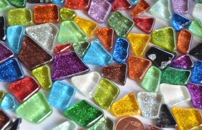 Mosaiksteine (Soft-Glas) Glitter unregelmäßig bunt 100g ca.60St.