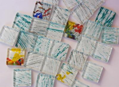 Softglas Mosaiksteine mit Muster N39, 2,5x2,5cm 30 St.- ca. 160g