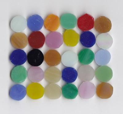 Tiffany-Glasmosaik rund 1cm Buntmix 30 St.- ca. 24g.