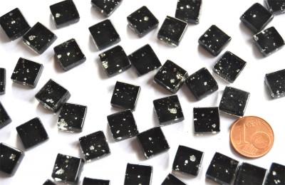Mini Mosaiksteine Glitzer schwarz N2, 1x1cm 100 St.- ca. 85g