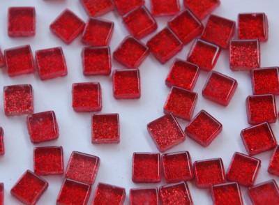 Mini Mosaiksteine Glitzer rot 1x1cm 100 St.- ca. 85g