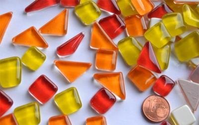 Mosaiksteine unregelm. (Soft-Glas) Sonnenmix 200g ca.130-150St.