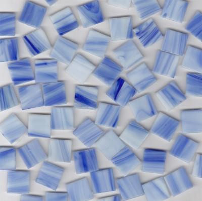 Glas Mosaiksteine blau marmoriert 2x2 cm 50 St.- ca. 145g