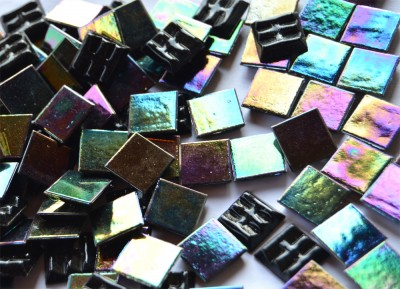 Glasmosaiksteine schimmernd schwarz 1,5x1,5cm 100 St.- ca. 145g
