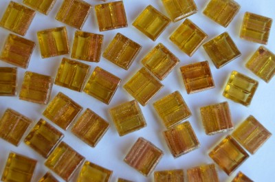 Mini Mosaik mit Flimmer gelbgold 1x1 cm 300 St.- ca.204g