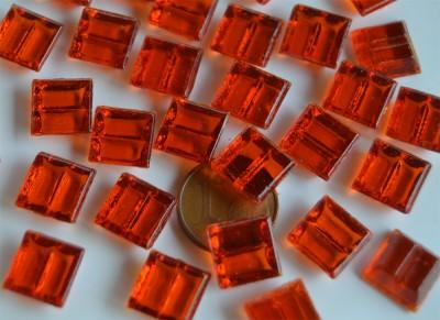 Mini Mosaiksteine 1x1cm rot transparent 250 St.- ca. 175g.