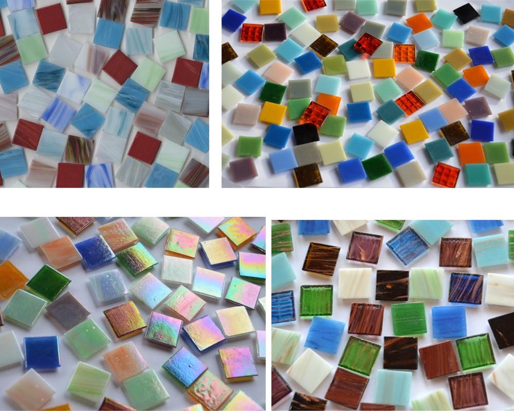 145g Farbauswahl 50 Stück Mosaiksteine mit Perlmutt Effekt 2x2cm schimmernd ca