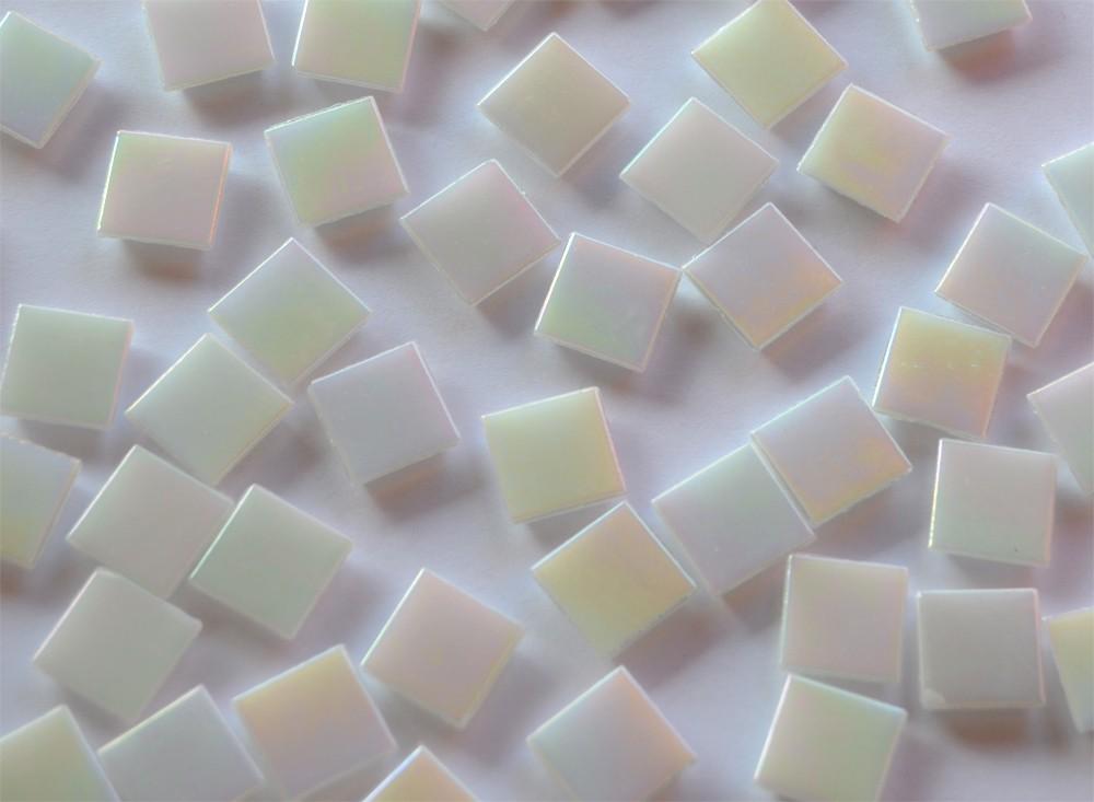 100 St Glasmosaiksteine schimmernd 1,5x1,5cm wei/ß 145g ca