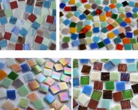 Glas Mosaiksteine 2x2cm bunt aus 4 Artikeln 250 St. ca. 725g.