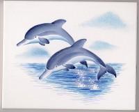 Handbemaltes Wandfliese 20x25cm Delphin1