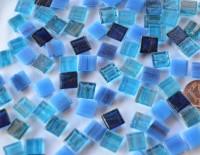 Mini Mosaik mit Flimmer Blaumix 1x1 cm 300 St.- ca.204g