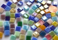 Mini Mosaiksteine 8x8mm schimmernd bunt 35 Farben 100 St. ca.50g