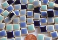 Mini Mosaiksteine Keramik Mixblau 1x1cm 100g ca. 100 St.