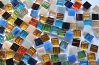 Mini Mosaik mit Flimmer (Goldfäden) bunt 1x1 cm 300 St.- ca.204g