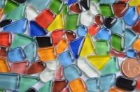 Glas Mosaiksteine unregelm. (Soft-Glas) bunt 200g ca.130-150St.