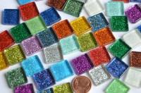Glas-Mosaiksteine Buntmix mit Glitzer 15x15mm 40 St.- ca. 90g