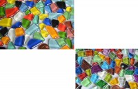 Mosaiksteine Mix unregelm. Softglas Glitzer-normal 150g ca.100St