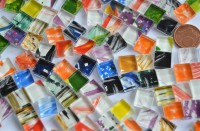 Mosaiksteine (Soft-Glas) mit Muster bunt 1x1cm 110 St.- ca.90g