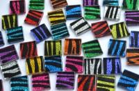 Glas Mosaiksteine Glitzer Zebra bunt 2x2cm 40 St.- ca.140g