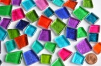 Mosaiksteine unregelm. hoch glänzend bunt 100g ca. 40St.