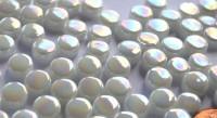 Mini Mosaiksteine weiß irisierend rund 8mm 40g, ca. 90-100 St.