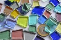 Glas Mosaiksteine unregelm. transparent bunt 100g ca. 40 St.