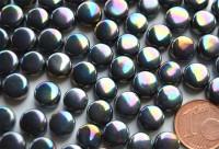Mini Mosaiksteine schwarz irisierend rund 8mm, 40g - ca. 90-100