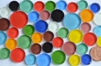 Softglas Mosaiksteine rund in 3 Größen12-20mm bunt 44 St.-ca.60g