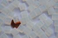 Mini Mosaiksteine 1x1cm weiß transparent 200 St.- ca. 130g.