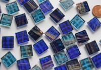 Glas Mosaiksteine Flimmer Blaumix, 1,5x1,5cm 100 St.- ca. 145g