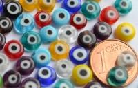 Schmuck Mosaiksteine Millefiori rund Augen bunt 6mm, 20 St.-ca3g