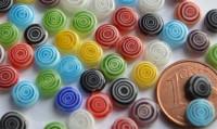 Schmuck Mosaiksteine Millefiori rund spirale, 6mm, 20 St.-ca. 3g