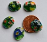 Bastelideen Schmuck mosaik oval grün-bunt 10x12 mm 4 St.- ca. 2g