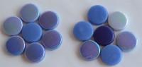 Glas Mosaiksteine rund 20mm Blaumix Stärke 6mm 100g ca. 22 St.
